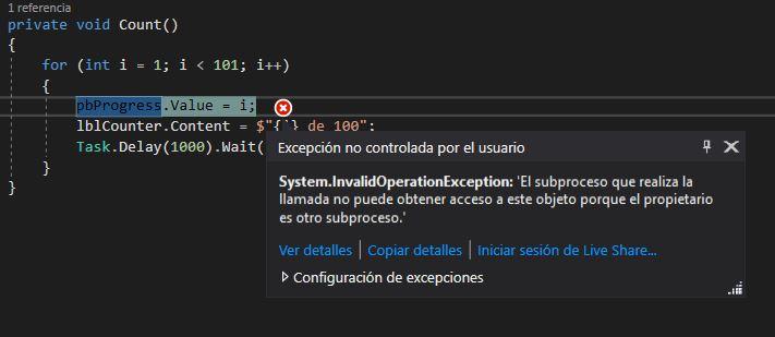 System.InvalidOperationException: 'El subproceso que realiza la llamada no puede obtener acceso a este objeto porque el propietario es otro subproceso.'